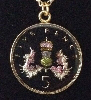1987 Enamelled 5p Coin Pendant. Black/gold/colours. 30th Birthday/Anniversary