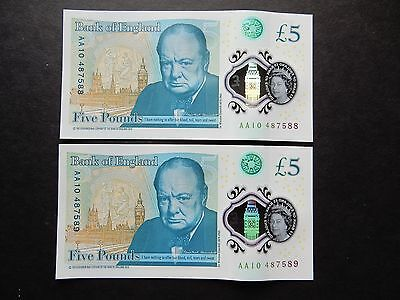 Bank of England UK Polymer £5 Five Pound Note Banknote Prefix AA10 x2 low early