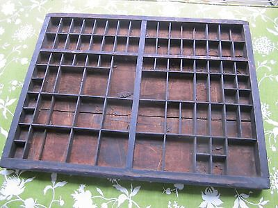 Antique primitive wood  type set/tray drawer.  Patina. Display collectibles.