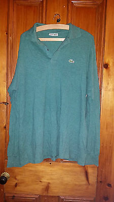 True Vintage Retro Mans Green Lacoste Long Sleeved Jumper / Top 46 Chest