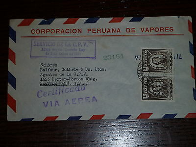 1951 Certified Airmail from Peru to Seattle with Cert# plus approp. hand stamps