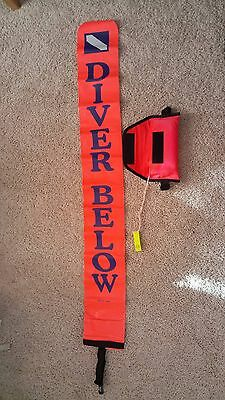 Surface marker buoy diver below down flag  float signal tube