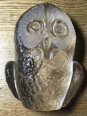 "Mats Jonasson 6"" Owl Paperweight Sculpture Kosta Boda Crystal Glass Signed VGC"