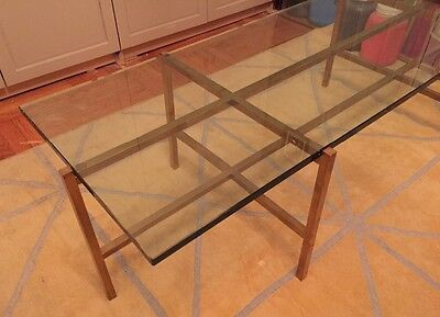 antique mid-century brass and glass coffee table
