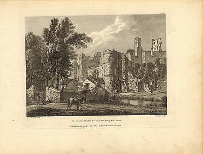 view of middleham castle .yorkshire - 1780  engraving ! scarce view !