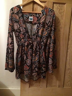 Vintage Style 70's Bell Sleeved Top With Floral Pattern.