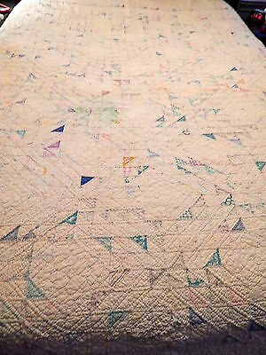 """Vintage Hand Stitched Cutter ? Quilt  88"""" x 98""""  Worn Areas  Multi Color"""
