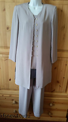 Jacques Vert Mother Of The Bride Trousers Top Jacket Suit Size 10 Formal Outfit