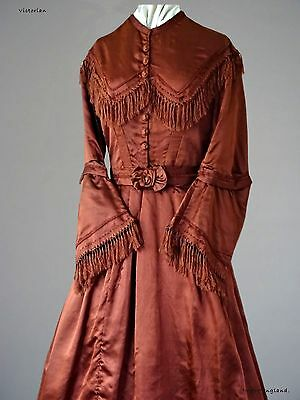 Pre 1890s  ANTIQUE  VICTORIAN DAY DRESS  TAN COLOURED  SILK  with TAN FRINGING