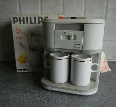 Philips 2-Cup Tea For Two Tea Maker with 2 White Ceramic Mugs HD5192 ** EXC **