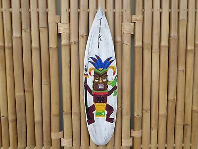 Wooden Hand Carved Painted WHITE TIKI Surfboard Mask Wall Plaque 100cm.....