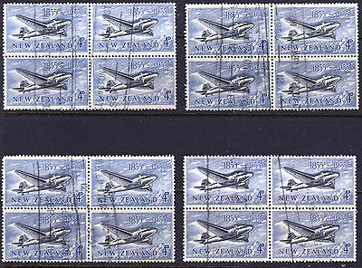 NEW ZEALAND 1955 4d, Stamp Centenaty Fine Used in  Blocks (16 stamps) as Scan