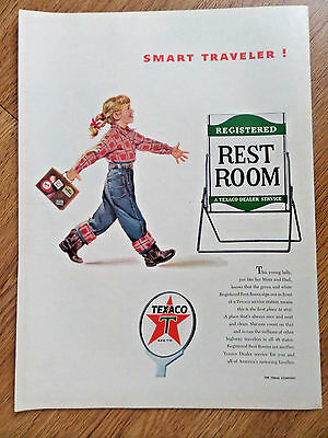 1954 Texaco Oil Gas  The Texas Company Ad  Smart Traveler Registered Rest Rooms
