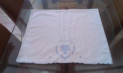 A Large Vintage White Cotton And Embroidered Pillowcase ~ Rose
