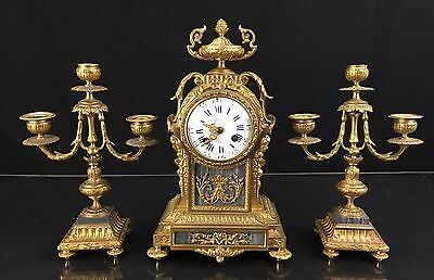 Breath-Taking Antique French Bronze Clock Set With Candelabras