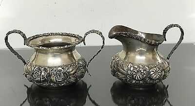 Fabulous Set Of 2 Antique Sterling Silver Reprousse Stieff Creamer & Bowl