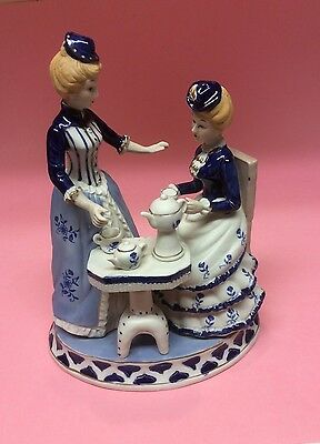 Vintage Pottery Ornament - Tea For Two Ladies