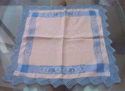 Vintage Pink & Blue Damask And Crocheted Lace Table Center / Small Tablecloth