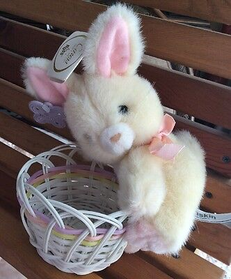 Russ Caress Soft Pets Baskin Washable Bunny Rabbit Plush with basket Easter Vtg
