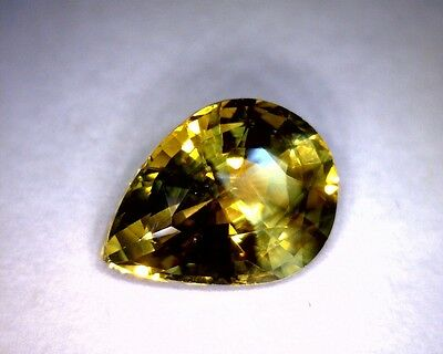 3.42 Ct Pear Shaped Chrysoberyl, Olive Green, Earth Mined, Unheated/untreated