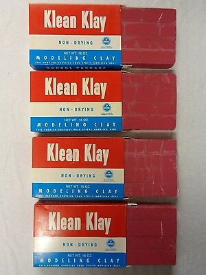 Red Klean Klay Modeling Clay 4 Box Lot 16 Sticks 64oz School Package No 20 NOS