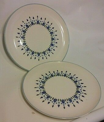 Swiss Alpine Chalet 2 Dinner Chop Plates Blue Marcrest  Hand Painted 11.5""