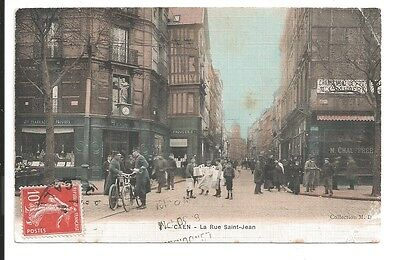 vintage postcard 1910 french police gendarmes on bycycles crowded shopping scene