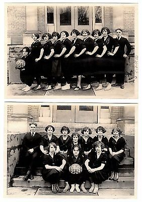 RARE 2 Photos Girl Basketball Team MIDGET Genesee Wesleyan Seminary Lima NY 1923