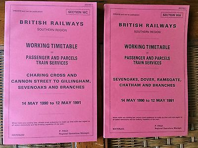1990-1991: BR, Southern Region Working Time Tables.