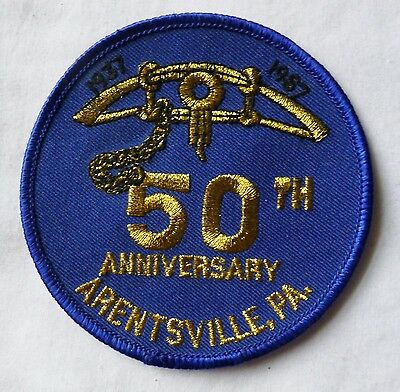 Vintage Hunting Trapping OOAK Patch 50th Anniversary Arentsville PA 1937 1987