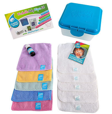 Cheeky Wipes Trial Kit -10 x Baby Wipes, Container & Oil + FREE Wash Bag!