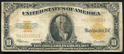 Fr. 1173 1922 $10 Ten Dollars Gold Certificate Currency Note