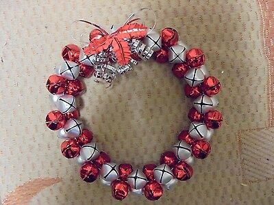 """Red & Silver Christmas Holiday Bell Wreath 11"""""""