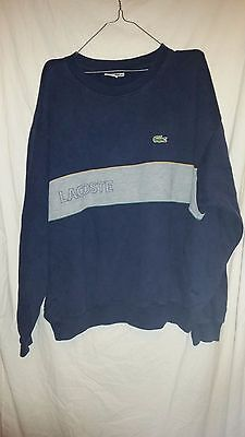 True Vintage Lacoste Sweat Shirt Navy Blue And Grey 52 Inch Chest La Coste