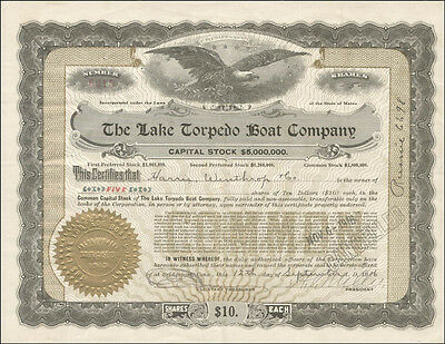 Lake Torpedo Boat Company - Stock Certificate Signed 09/12/1916 With Co-Signers