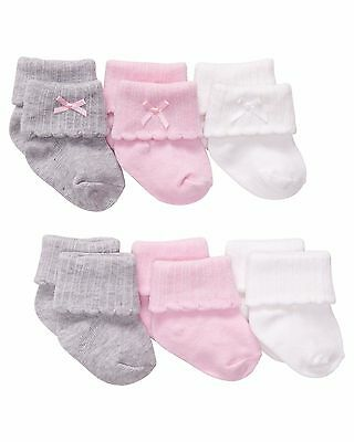 Baby Girl Carters 0-3 & 3-12M Socks 6-Pack Roll Cuff Pink/Gray/White-NWT