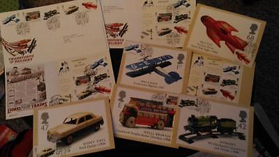 G.B. 2003 3 Transports of Delight  Royal Mail First Day Covers + set of cards