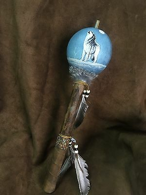 Hand Painted Dance Gourd Rattle ,WOLF, Ceremonial, Santa fe style decor, HOWLING
