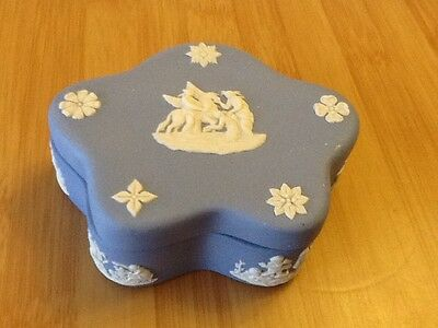 Wedgwood blue and white shaped trinket box