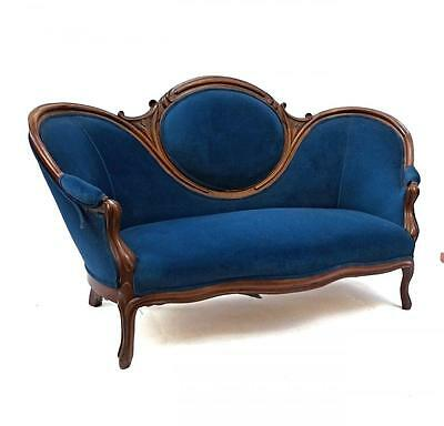 19th Century Antique Victorian Sofa Blue Upholstery Loveseat Settee Chaise Couch