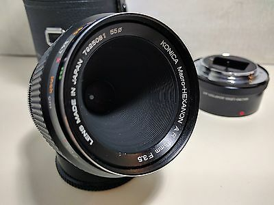 KONICA Macro-HEXANON AR 55mm F3.5 + MACRO LENS ADAPTER, with original case.
