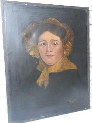really OLD painting antique OIL PORTRAIT LADY