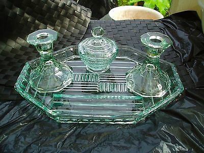 pressed glass art deco vanity tray, lidded pot and chamber sticks pale blue