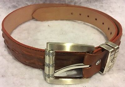 Men's Genuine Leather Belt Brown Size 36 Western Style Buckle
