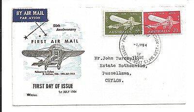 vintage first air mail 50th anniversary 1964 postal cover melbourne to sydney