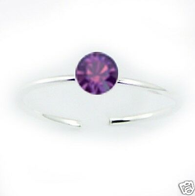 USA Seller Swarovski Crystal Toe Ring Sterling Silver Best Jewelry Amethyst
