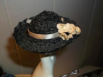 VINTAGE GINNY DOLL BLACK STRAW HAT with flowers, Clothes Accessory
