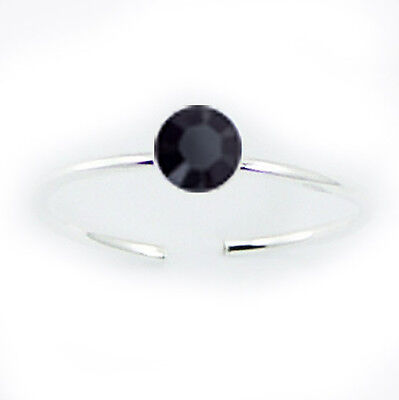 Swarovski Crystal Toe Ring Sterling Silver 925 Best Price Jewelry Jet Blue