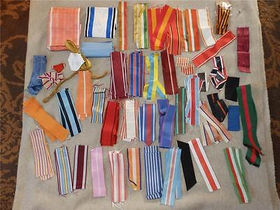 WW1 WW2 Multi National Military Medal Replacement Ribbons...Huge Lot