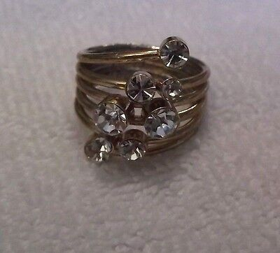 Vintage Goldtone Ring With Clear Rhinestones Approx. Size 7